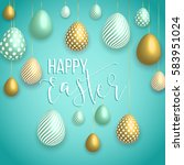 happy easter green background... | Shutterstock .eps vector #583951024