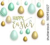 happy easter white background... | Shutterstock .eps vector #583951027