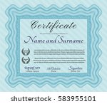 light blue diploma. detailed.... | Shutterstock .eps vector #583955101
