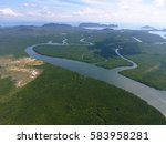 aerial photo of estuaries and... | Shutterstock . vector #583958281