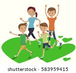 cute family show a power at... | Shutterstock .eps vector #583959415