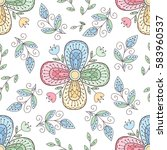 vector colorful flower seamless ... | Shutterstock .eps vector #583960537