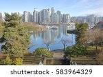 Stock photo a high angle view of false creeks s inner harbor and the rising vancouver skyline false creek inner 583964329