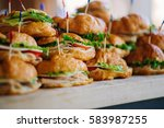 stacks of croissant sandwich at ... | Shutterstock . vector #583987255