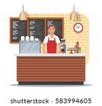 vector illustration of coffee... | Shutterstock .eps vector #583994605