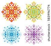 vector set of pixel oriental...   Shutterstock .eps vector #583996774