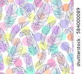 tropical trendy seamless... | Shutterstock .eps vector #584000089