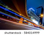 urban traffic with cityscape in ... | Shutterstock . vector #584014999