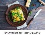 vegetable lasagne served on...   Shutterstock . vector #584016349