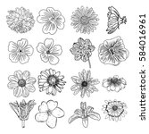 vector set of flowers  black... | Shutterstock .eps vector #584016961