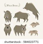 wild life animal wild boar... | Shutterstock .eps vector #584023771