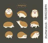 hedgehog cute small animal pet... | Shutterstock .eps vector #584023894