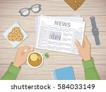 man reading the latest news at... | Shutterstock .eps vector #584033149