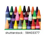 Three Rows Of Wax Crayons In A...