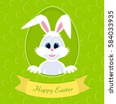 happy easter greeting card with ... | Shutterstock .eps vector #584033935