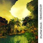 3d illustration of landscape... | Shutterstock . vector #584035039