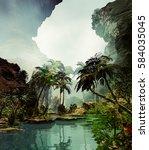 3d illustration of landscape... | Shutterstock . vector #584035045