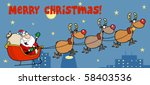 christmas greeting with santa... | Shutterstock .eps vector #58403536