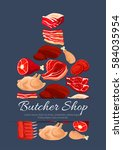 meat poster of cutting board... | Shutterstock .eps vector #584035954