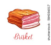 brisket vector sketch. pork ... | Shutterstock .eps vector #584036017