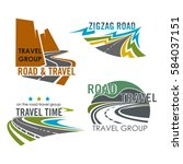 road or route vector icons.... | Shutterstock .eps vector #584037151