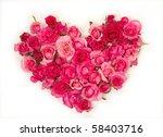 Pink Roses Heart Shape.on White ...