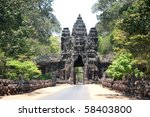 Gate around Angkor Wat Temples in Siem Reap - Cambodia - stock photo