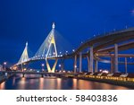 Industrial Circle Bridge in Bangkok, Thailand at twilight. - stock photo