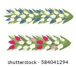 vector spring flowers garland... | Shutterstock .eps vector #584041294