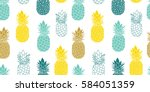fresh blue yellow pineapples... | Shutterstock .eps vector #584051359