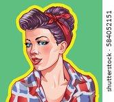 young woman vintage portrait ... | Shutterstock .eps vector #584052151