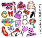 womens day 8 march elements set ... | Shutterstock .eps vector #584059099
