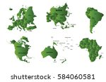 set 6 continents and countries... | Shutterstock .eps vector #584060581