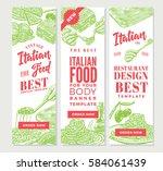 vintage italian food vertical... | Shutterstock .eps vector #584061439