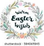 easter greeting card with...   Shutterstock .eps vector #584069845