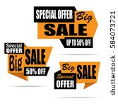 set of sale banners. yellow... | Shutterstock .eps vector #584073721