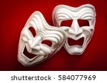 comedy and tragedy theatrical... | Shutterstock . vector #584077969