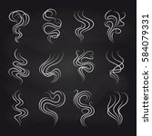 white smoke smell line icons on ... | Shutterstock .eps vector #584079331