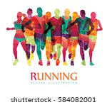 running marathon  people run ... | Shutterstock .eps vector #584082001