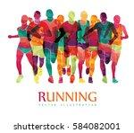 running marathon  people run ...   Shutterstock .eps vector #584082001