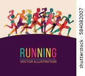 running marathon  people run ... | Shutterstock .eps vector #584082007