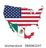 map of usa and mexico with flag ... | Shutterstock .eps vector #584082247