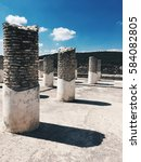 Small photo of round columns at the archaeological complex in Tula de Allende, Mexico