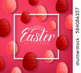 happy easter red background... | Shutterstock .eps vector #584086357
