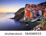 riomaggiore village on cliff...
