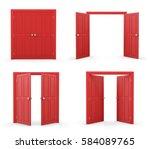 3d red double door on white... | Shutterstock . vector #584089765