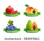 fresh fruits badges.... | Shutterstock .eps vector #584095861