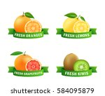 fresh fruits badges. orange ... | Shutterstock .eps vector #584095879
