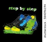 vector illustration of hand... | Shutterstock .eps vector #584096194