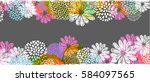 Stock photo  border with lemon white blue pink stylized doodle flowers and place for your text on gray 584097565